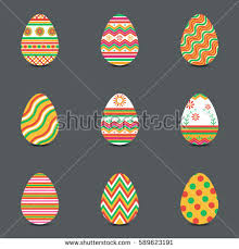easter eggs decoration easter eggs set collection isolated on stock vector 605438408