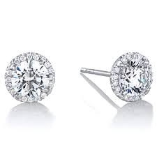 stud earrings diamond halo 6 5 mm cz stud earrings in 18kt white gold