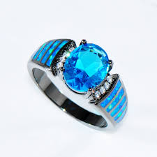blue opal size 6 7 8 9 attractive light blue jewelry women wedding blue opal