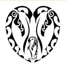 amazing tribal penguin family in heart shape tattoo design