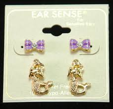 ear sense earrings mermaid gold tone stud earrings