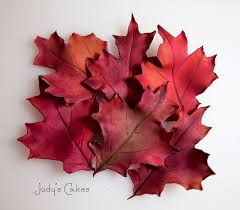 gumpaste autumn leaves tutorial sugared productions blog