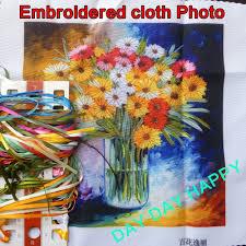 aliexpress com buy 30x30cm daisy vase diy ribbon embroidery