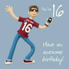 16th birthday card with teenage boy image cubecure