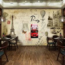 custom mural retro stamps architectural wallpaper restaurant cafe