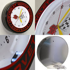 vintage corvette logo chevrolet corvette c3 flags logo neon clock chevy garage clocks