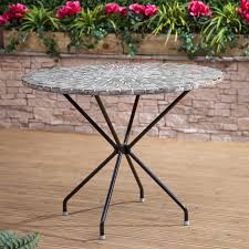 Metal Garden Table And Chairs Uk Round Steel And Ceramic Mosaic Garden Table