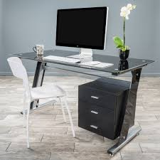 Office Table Desk White Glass Desk Quadra Glass And Metal Desk By Gallotti And