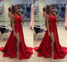 2016 cheap thigh slit red evening dresses v neck open back