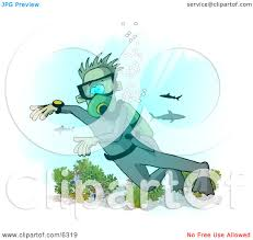 scuba diver with sharks in the deep sea clipart illustration by