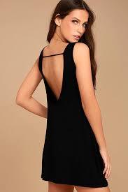 cute black dress backless dress swing dress backless swing