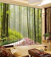 2017 modern home decor green road forest curtains living room