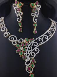 diamond ruby necklace sets images American diamond ruby and emerald necklace set indian kundan jpg