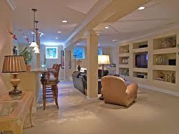 basement with pendant light u0026 travertine tile floors in cincinnati
