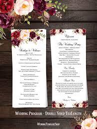 tea length wedding program slim wedding program blossoms floral marsala burgundy