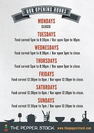 opening hours the pepperstack