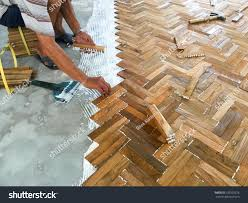 Parquet Flooring Laminate Laminate Parquet Floor Installation By White Stock Photo 522520276