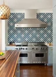 blue kitchen tile backsplash blue cement tile backsplash design burke interiors
