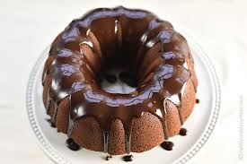 chocolate bundt cake with chocolate espresso glaze she wears