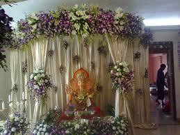orchid flower decoration for ganpati at home room