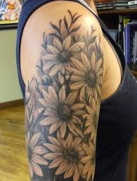 flower forearm tattoo designs black and grey daisy flowers tattoo on right shoulder tattoos
