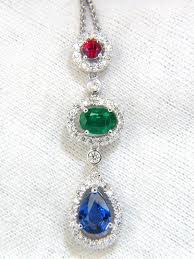 natural sapphire necklace images 3 07ct natural sapphire emerald ruby diamond cluster dangle JPG