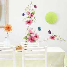 Bedroom Wall Decals Uk 3d Pink Flowers With Butterflies Wall Decal Fathead Look Decorate