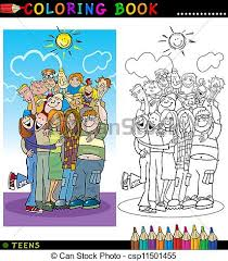 clipart vector happy teenagers group coloring coloring