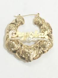 Hoop Earrings With Name Personalized 14k Gold Overlay Name Hoop Earrings Bamboo Xoxo