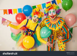 two cheerful clowns birthday children bright stock photo royalty two cheerful clowns birthday children bright stock photo 742263658
