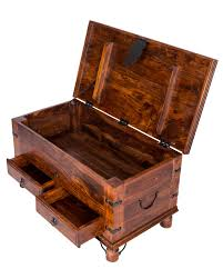 takhat coffee table trunk with 2 drawers homescapes