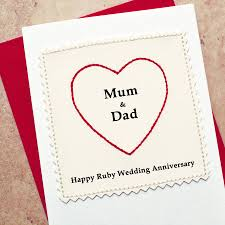 ruby wedding anniversary card and by arnott cards