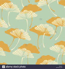 a japanese style ginkgo biloba leaves seamless tile in a gold and stock vector a japanese style ginkgo biloba leaves seamless tile in a gold and light blue color palette