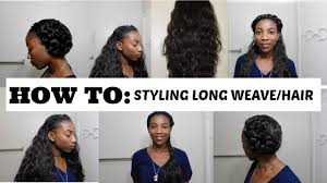 6 unique ways to style long weave hair back2school youtube