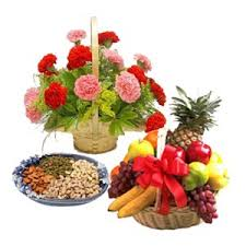 fruit flowers baskets gift of fresh flower arrangement with assorted fruits
