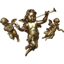 3 cherub wall or ceiling hangings ornaments putti vintage