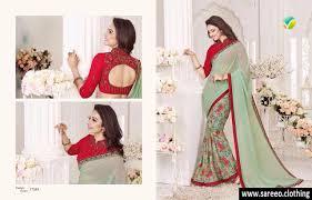 special new designer georgette pista green color printed saree