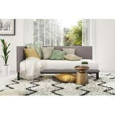 dorel home furnishings mid century grey linen upholstered modern