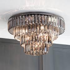 4 tier 5 light flush ceiling light with smoke chisel prism bars