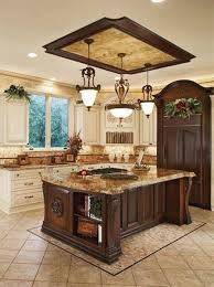 old world kitchen room style with inverted pendant lighting over