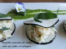 comment cuisiner le radis noir cuit recette des ravioles ouvertes de radis noir au crabe et estragon