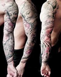 Buddhist Flower Tattoo - guys full sleeve buddha with pink flower tattoo tattoo