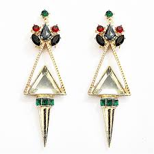 statement earrings spike earrings oversized statement earrings with green