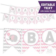 baby shower banner pink elephant baby shower banner editable text printable banner