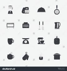 kitchen utensils cookware icons set cooking stock vector 215835589