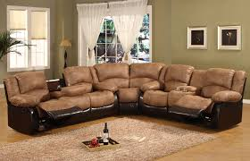 dark brown leather chesterfield sectional with reclyner and