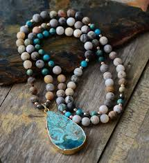 natural stone beaded necklace images Ocean jasper pendant natural stone beaded necklace my jpg
