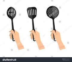 female hands kitchen utensils slotted spoon stock vector 521646052