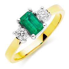 emerald rings uk 18ct gold diamond and emerald three ring 0000037