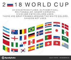 World National Flags With Names Rectangular Flags Of 2018 World Cup Countries U2014 Stock Vector